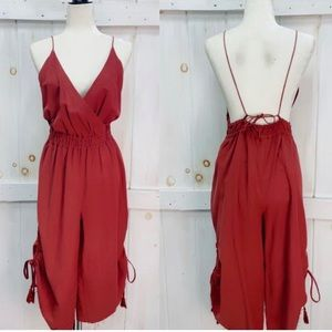 NWT Storia Red Open Back Jumpsuit Bobbles & Lace